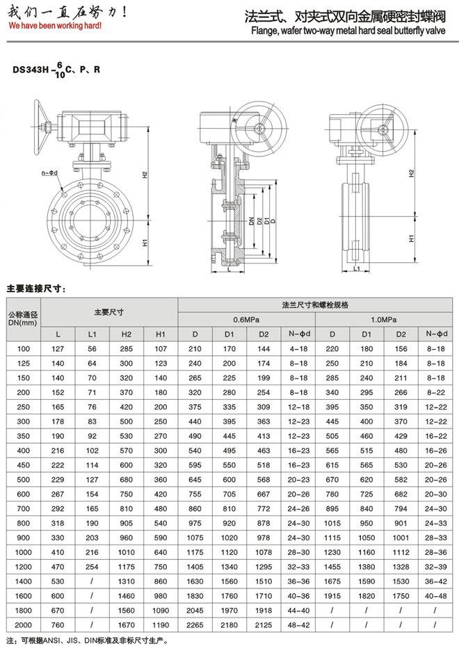 D343H硬密封蝶阀尺寸图